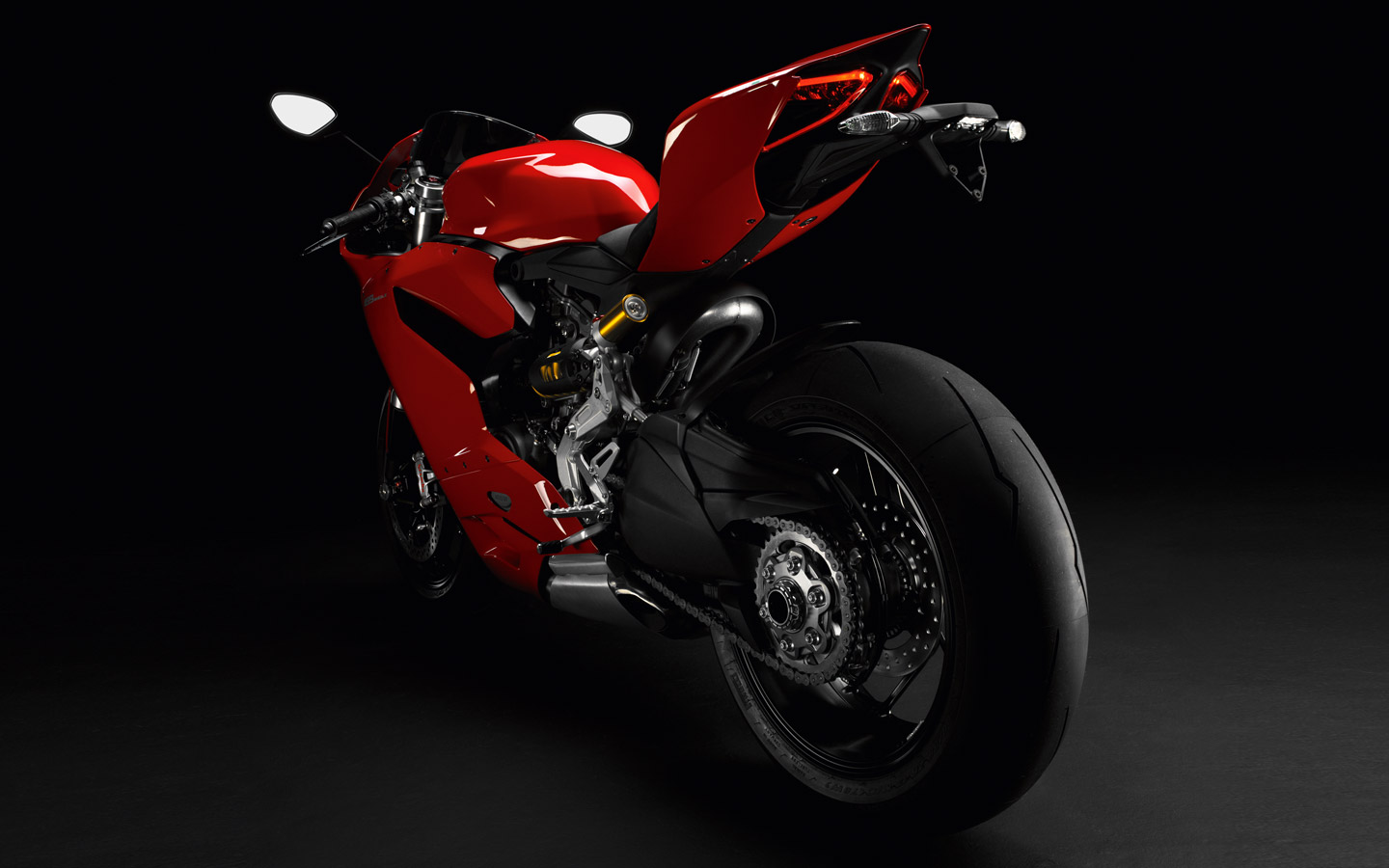 Ducati 1199 Panigale S Back View Dark Background Wallpapers